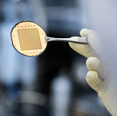 technology chip held with forceps