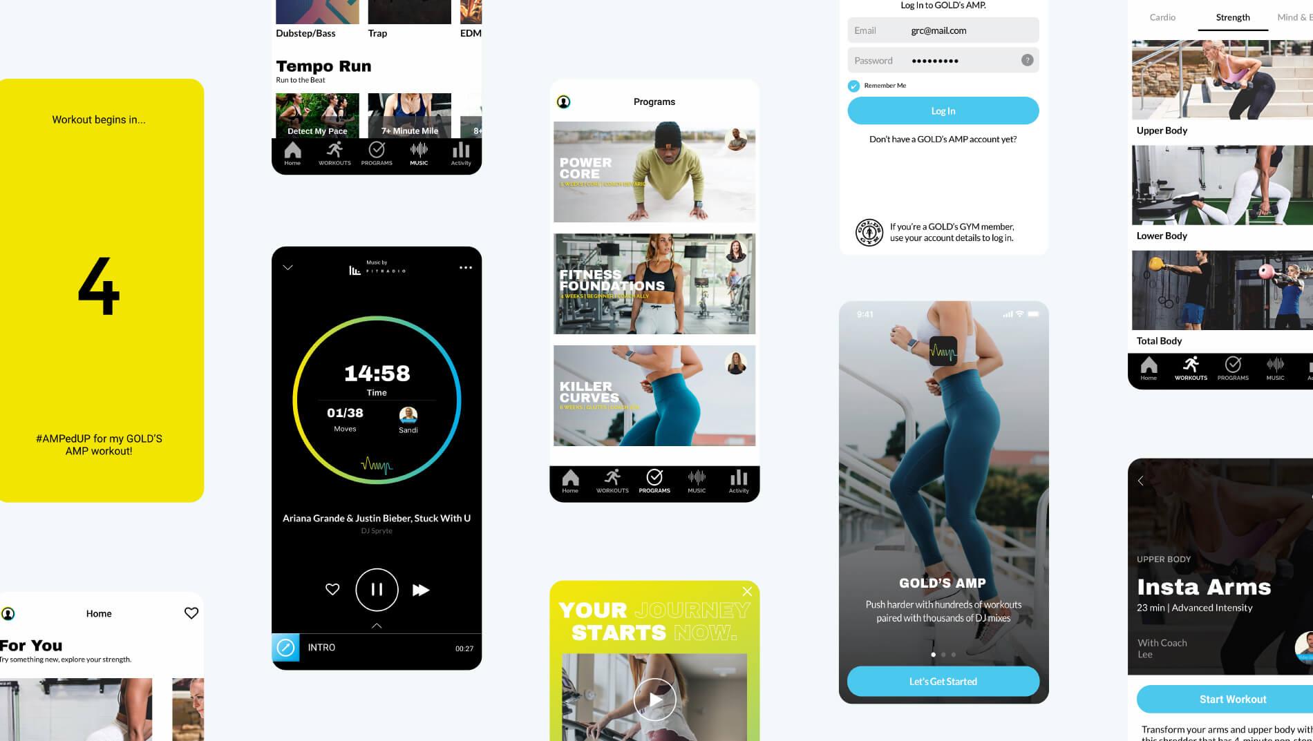 Gold's AMP app screens designs