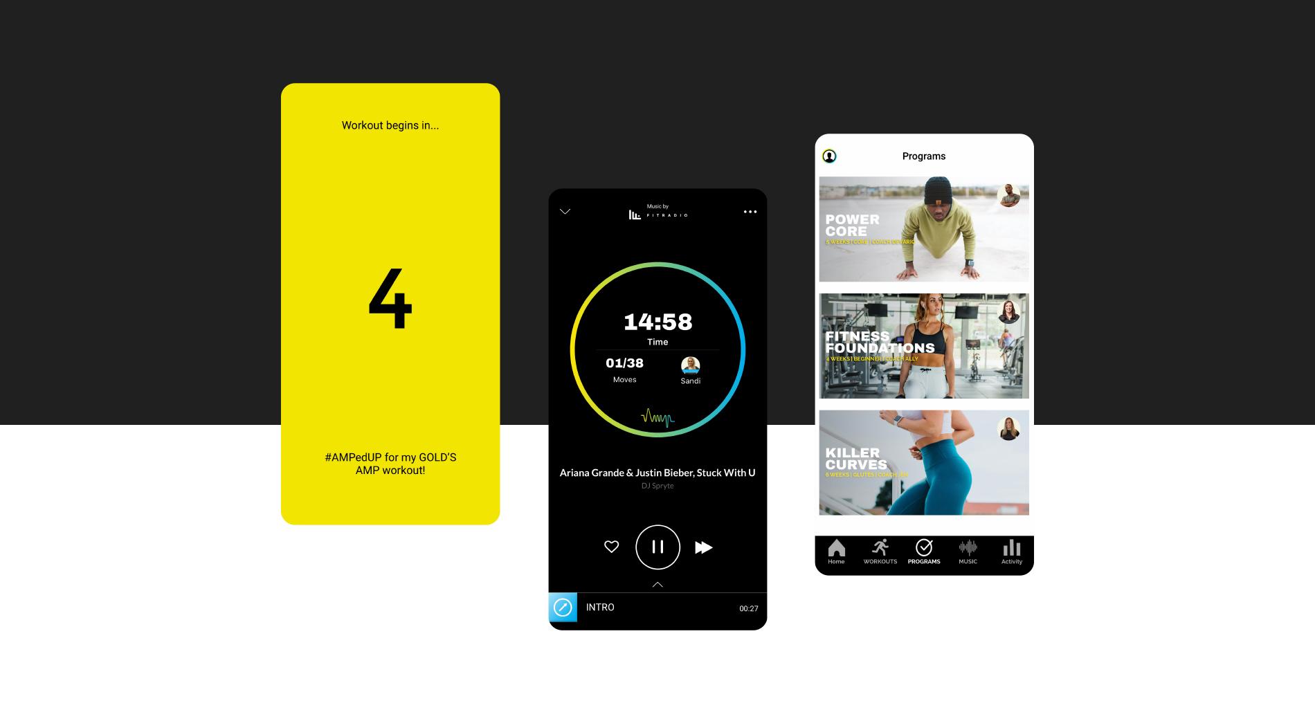 Gold's AMP app design screens